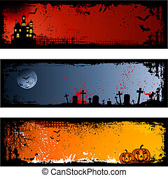 Three different spooky Halloween backgrounds
