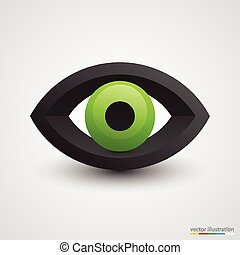 Three-dimensional green eye on white background. Vector illustration