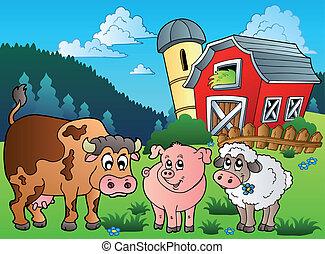 Three farm animals near barn