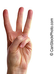An adult female hand holding three fingers in the air spread apart, (with clipping path)