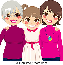 Three generation family women smiling happy together
