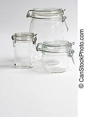 Three Glass Preserving Jars