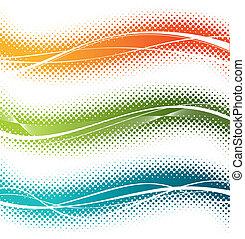 Three halftone vector design elements