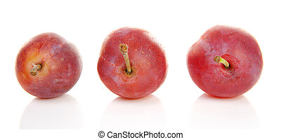 Three healthy plums