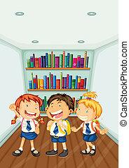 Illustration of the three kids wearing their school uniforms