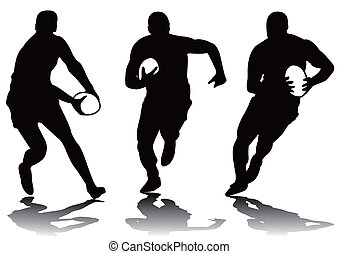 three rugby player silhouette
