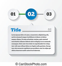 Three steps loading. Design for infographics. Paper with title and content. Vector illustration.
