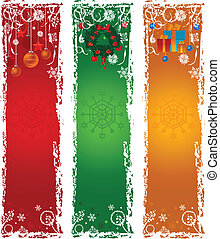 Three vertical Christmas banners. Blue, green, red with winter decoration.