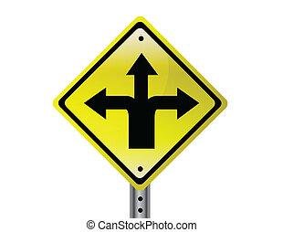 Three way isolated traffic sign. vector file also available.