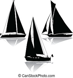 Three yachts sailing silhouette