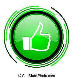 thumb up green circle glossy icon