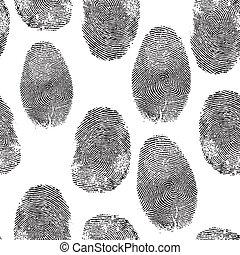 Vector thumb print background. Thumbprint, fingerprint seamless wallpaper. Crime, dactylography illustration.