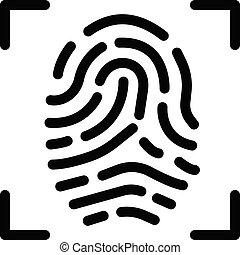 thumbprint vector glyph flat icon