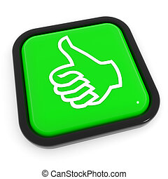 Thumbs up gesture green button.