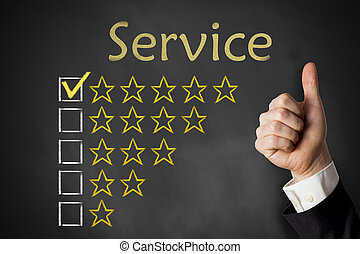 thumbs up service golden rating stars on chalkboard