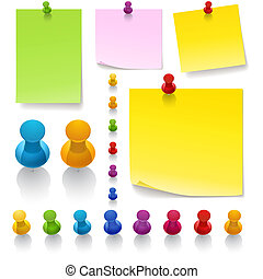 Thumbtacks and notes High detailed different types of papers, pins, tapes in different colors. Paper clips contains front part and back part so you can place them on a paper, file very flexible to use, zip file contains AI, High res. jpeg & png. mesh gradient used, EPS only works on Adobe ...