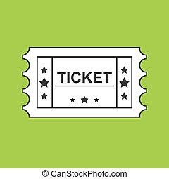 Ticket black Line Icon On green Background
