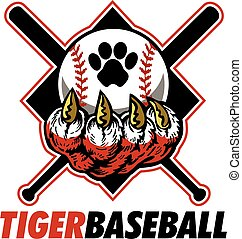 tiger baseball team design with crossed bats and diamond for school, college or league