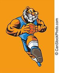 tiger basketball mascot logo