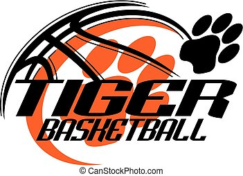 tiger basketball team design with paw print for school, college or league