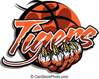 tiger basketball team design with paw print inside a basketball and large claw