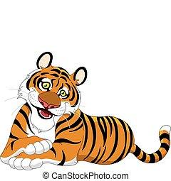 Beautiful lying tiger