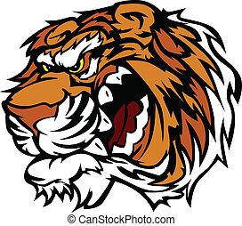 Cartoon Tiger Head Mascot Vector Image