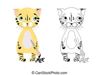 tiger character. Coloring book for kids tiger cub. The symbol of 2022. Coloring page