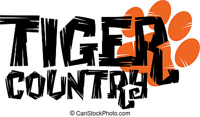 tiger country design with paw print