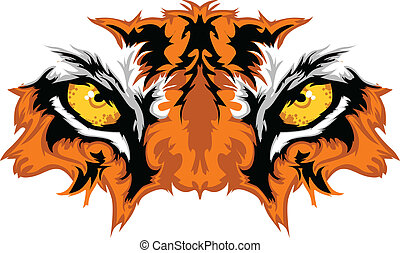 Graphic Team Mascot Image of Tiger Eyes