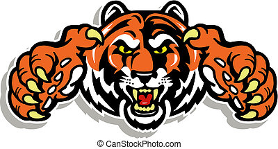tiger face with claws