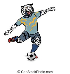 Tiger football player is kicking football on white background