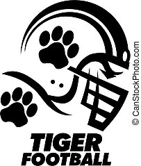 tiger football team design with paw print inside helmet for school or college