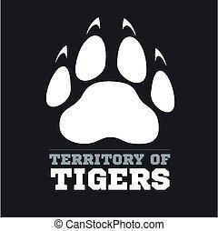 Tiger footprint on dark background - vector illustration