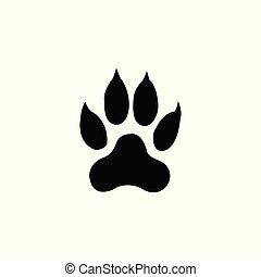 tiger footprint on white background illustration pattern