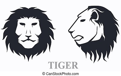 Tiger head front view and side view