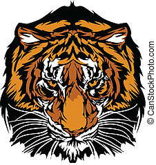 Graphic Mascot Image of a Tiger Head with Whiskers