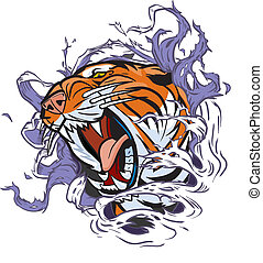 Cartoon Clip Art Illustration of a roaring tiger head ripping out of a hole in the background. Vector file is in layers for easy editing.