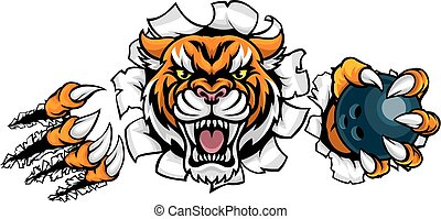 A Tiger angry animal sports mascot holding a ten pin bowling ball and breaking through the background with its claws