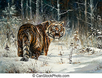 Tiger in winter wood