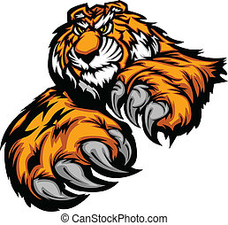 Tiger Mascot Body with Paws and Cla
