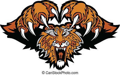 Graphic Mascot Image of a Pouncing Tiger Body