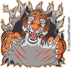 Tiger Mascot Ripping out Template