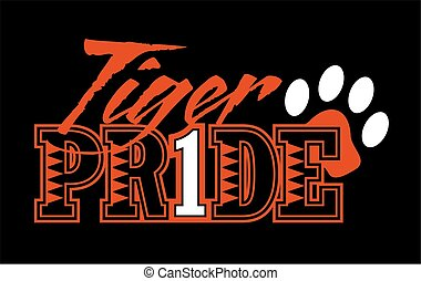 tiger pride design with paw print for school, college or league