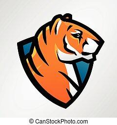 Tiger shield sport mascot template. Football or baseball patch design. College league insignia, High school team vector