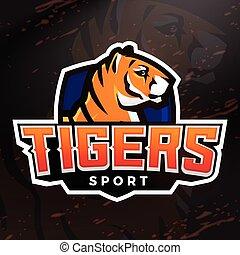 Tiger shield sport mascot template. Premade football, basketball or baseball patch design. College league insignia, High school team vector