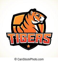 Tiger shield sport mascot template. Premade football or basketball patch design. College league insignia, High school team vector