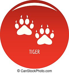 Tiger step icon vector red