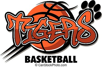 tigers basketball team design with ball and paw print for school, college, or league
