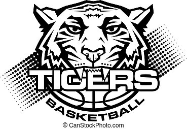 tigers basketball team design with mascot and ball for school, college or league